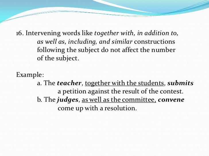 SubjectVerb Agreement – Words of Agreement