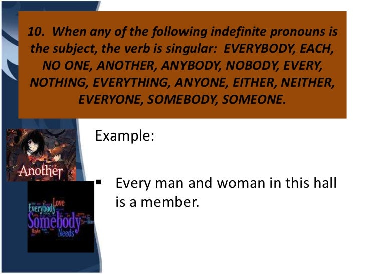 10. When any of the following indefinite pronouns isthe subject, the verb is singular: EVERYBODY, EACH,  NO ONE, ANOTHER, ...