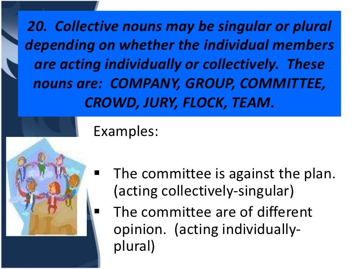 20. Collective nouns may be singular or pluraldepending on whether the individual members are acting individually or colle...