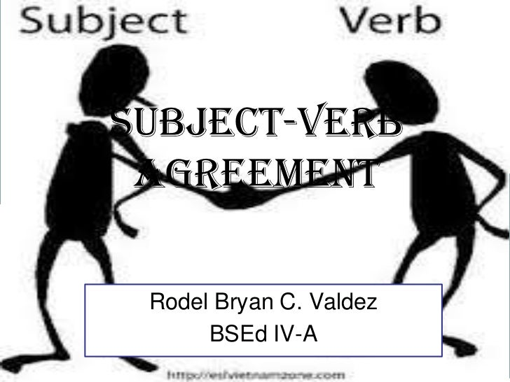 SUBJECT-VERB AGREEMENT Rodel Bryan C. Valdez      BSEd IV-A    Free Powerpoint Templates                                Pa...