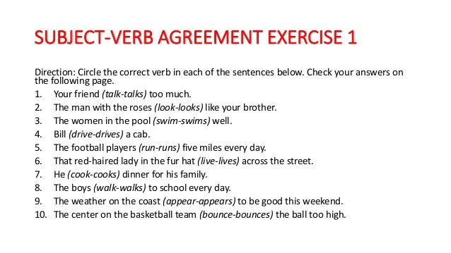 Subject Verb Agreement Rules And Exercise With Answer Key