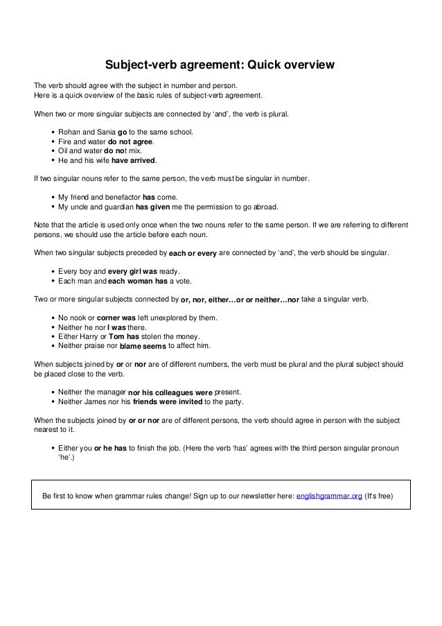 Subject Verb Agreement For English Classes In Mumbai