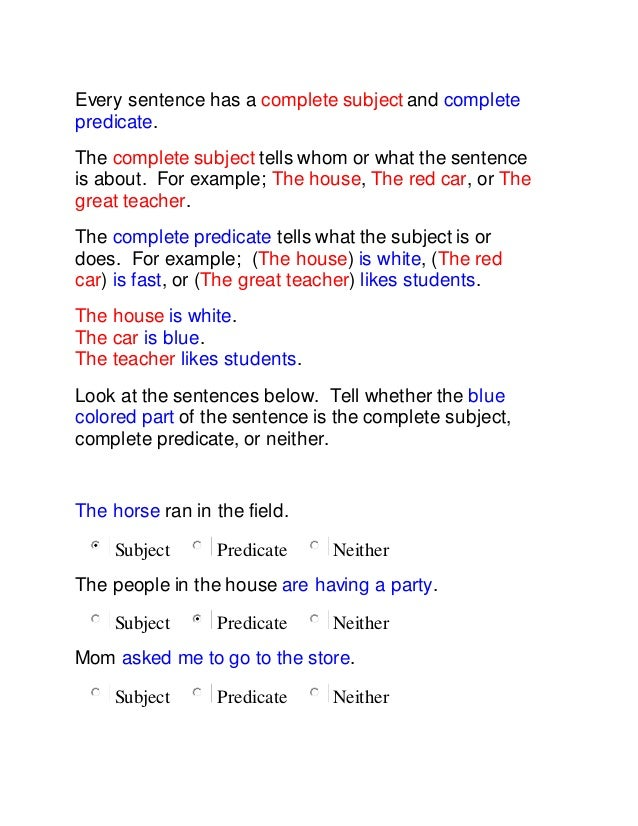 Collection of Simple Subject And Simple Predicate Worksheets With – Subjects and Predicates Worksheet