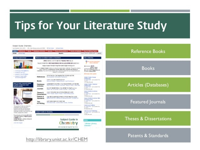 Tips for Your Literature Study Reference Books Books Articles (Databases) Featured Journals Theses & Dissertations Patents...
