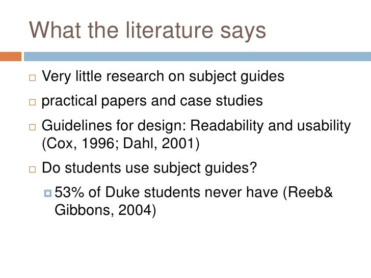 What Do Students Actually Want: A User-Centred Approach to Subject guides Slide 2