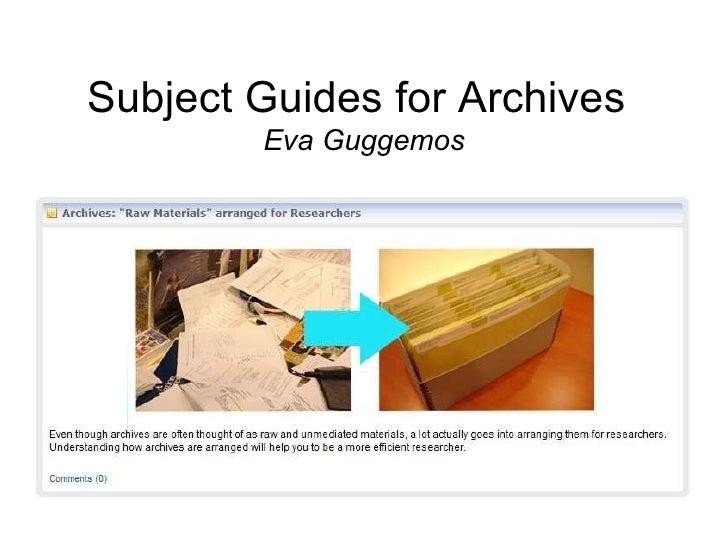 Subject Guides for Archives Eva Guggemos