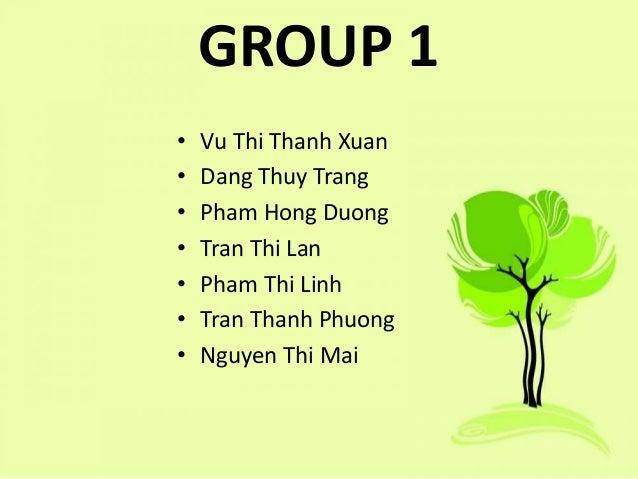 GROUP 1 • Vu Thi Thanh Xuan • Dang Thuy Trang • Pham Hong Duong • Tran Thi Lan • Pham Thi Linh • Tran Thanh Phuong • Nguye...