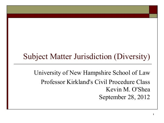 subject matter jurisdiction Subject matter jurisdiction is the court's authority to decide the issue in controversy such as a contracts issue, or a civil rights issue.