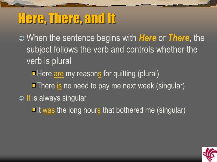 Subject verb agreement 8 here there platinumwayz