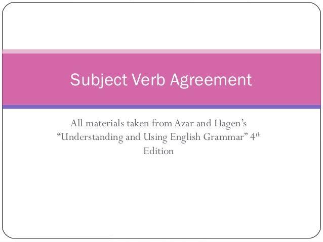 Subject Verb Agreement Esl