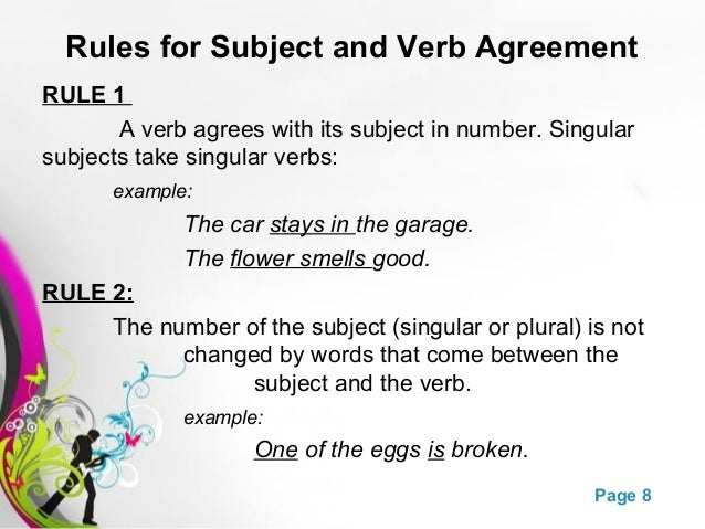 ex of subject verb agreement