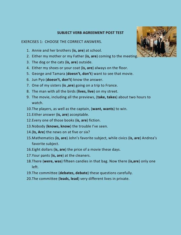 subject verb agreement test pdf