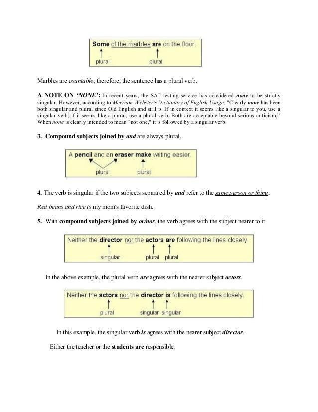 Rules of subject verb agreement the sentence has a singular verb 3 platinumwayz