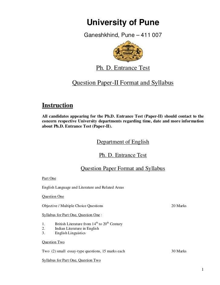 University of Pune                         Ganeshkhind, Pune – 411 007                                 Ph. D. Entrance Tes...