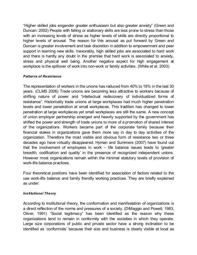 subjugation of work life balance policies to pressures of work 7