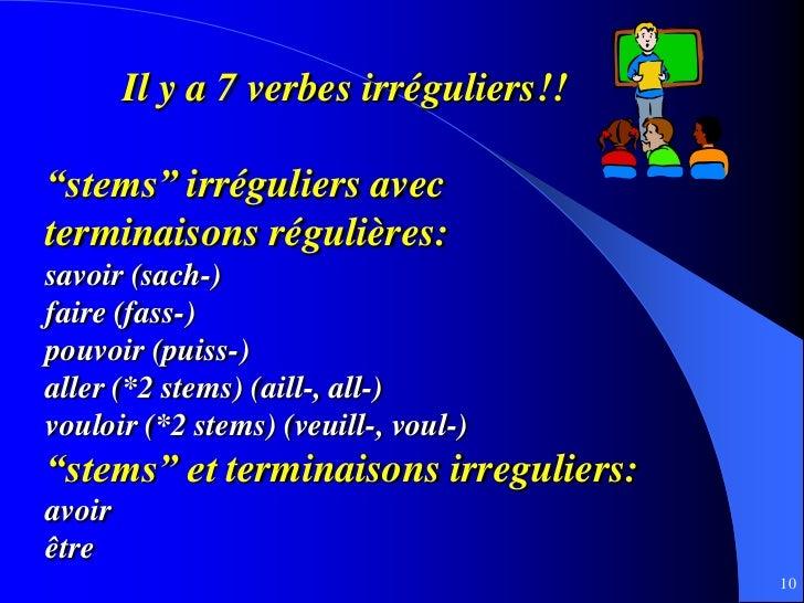 """Il y a 7 verbes irréguliers!!""""stems"""" irréguliers avecterminaisons régulières:savoir (sach-)faire (fass-)pouvoir (puiss-)al..."""