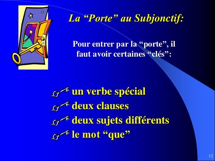 """La """"Porte"""" au Subjonctif:Pour entrer par la """"porte"""", il faut avoir certaines """"clés"""":un verbe spécialdeux clausesdeux sujet..."""