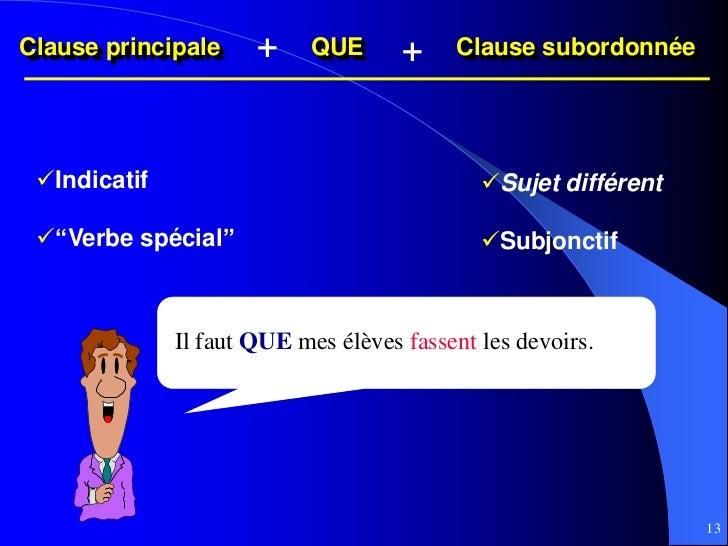 Clause principale     +    QUE       +    Clause subordonnée Indicatif                                  Sujet différent ...