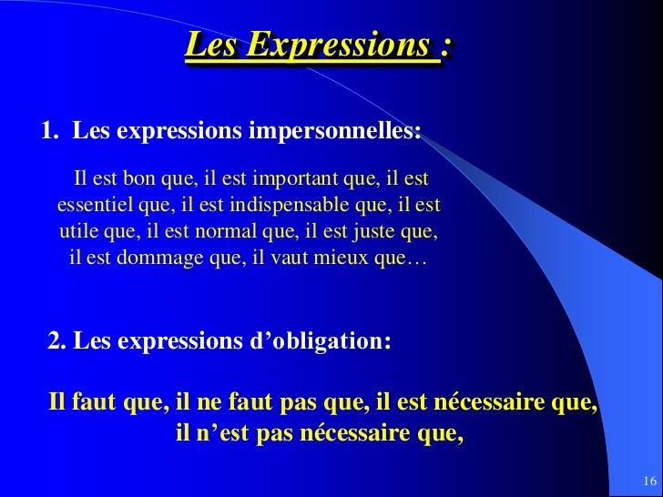 Les Expressions :1. Les expressions impersonnelles:   Il est bon que, il est important que, il est essentiel que, il est i...