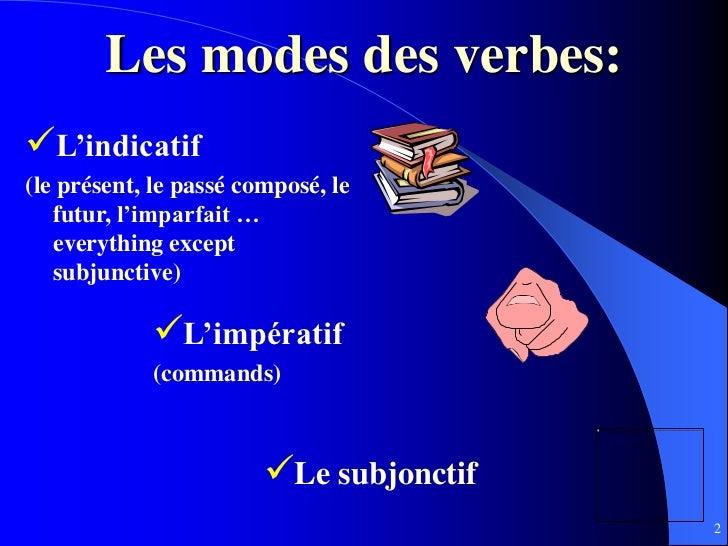 Les modes des verbes:L'indicatif(le présent, le passé composé, le   futur, l'imparfait …   everything except   subjunctiv...