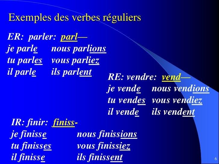 Exemples des verbes réguliersER: parler: parl—je parle nous parlionstu parles vous parliezil parle  ils parlent           ...