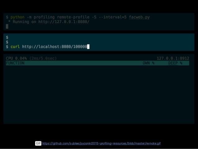 $ python -m profiling COMMAND • profile • live-profile • remote-profile • view