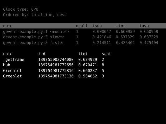 Clock type: CPU Ordered by: totaltime, desc name ncall tsub ttot tavg gevent-example.py:1 <module> 1 0.000047 0.660959 0.6...