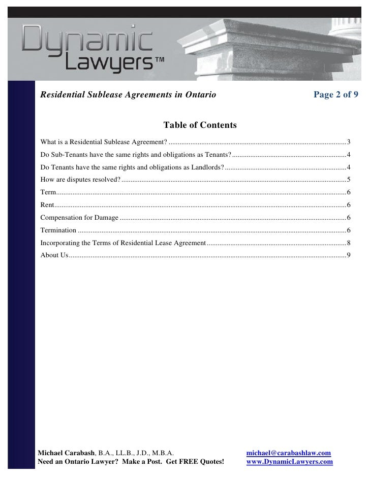DynamicLawyers.com; 2. Residential Sublease Agreements ...