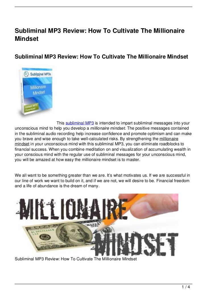 Subliminal MP3 Review: How To Cultivate The MillionaireMindsetSubliminal MP3 Review: How To Cultivate The Millionaire Mind...