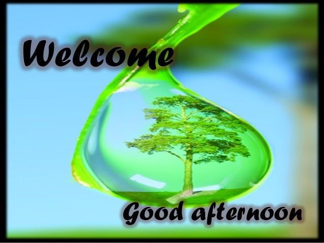 Welcome Good afternoon