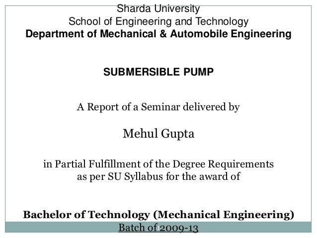 Sharda University       School of Engineering and TechnologyDepartment of Mechanical & Automobile Engineering             ...