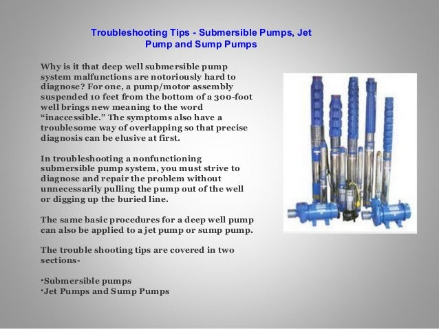 Submersible Pumps Trouble Shooting