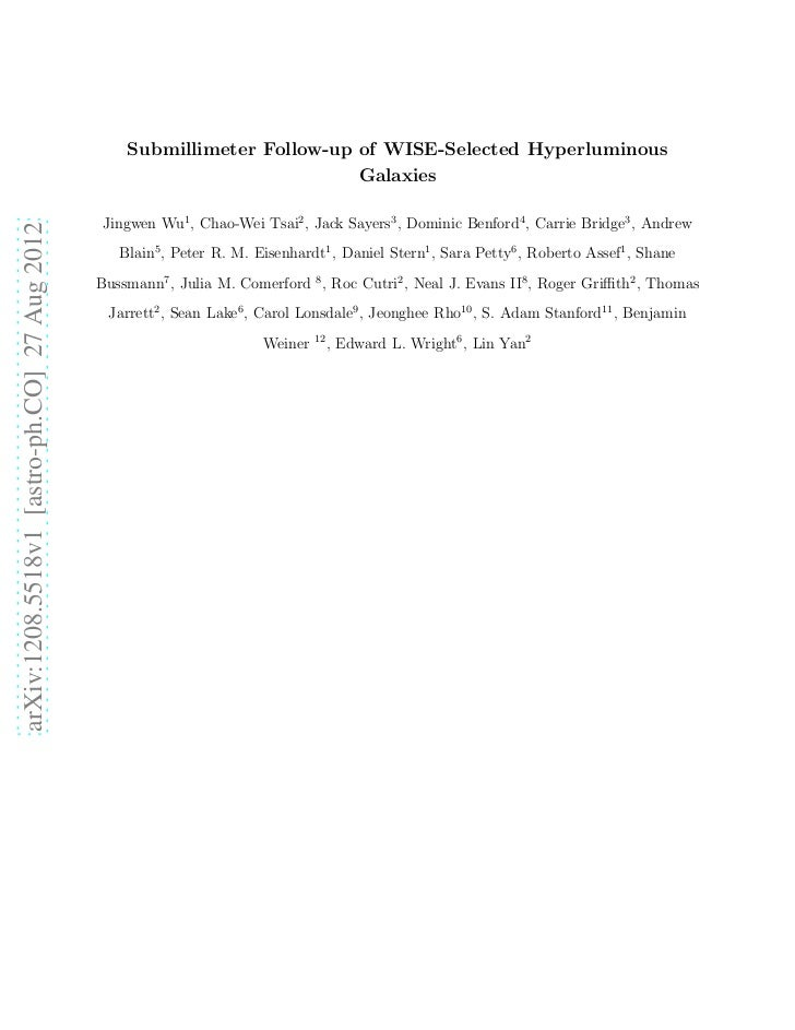 Submillimeter Follow-up of WISE-Selected Hyperluminous                                                                    ...