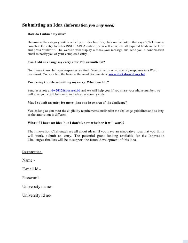 Submitting an Idea (Information you may need)   How do I submit my idea?   Determine the category within which your idea b...