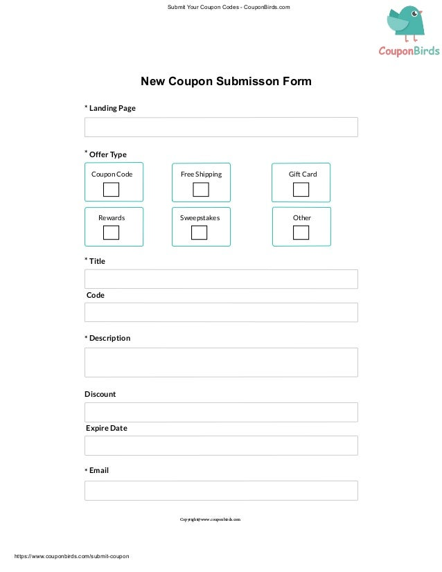 New Coupon Submission Form
