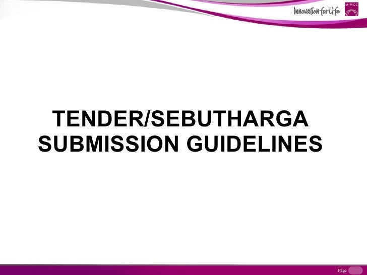 TENDER/SEBUTHARGA SUBMISSION GUIDELINES