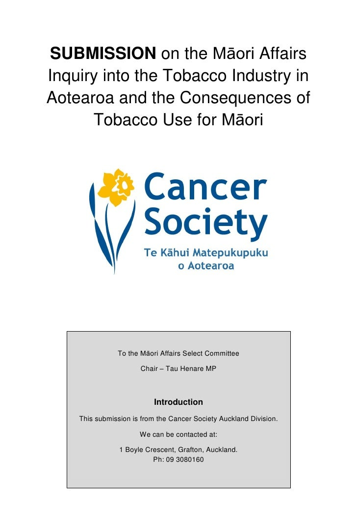 SUBMISSION on the Māori Affairs Inquiry into the Tobacco Industry in Aotearoa and the Consequences of       Tobacco Use fo...