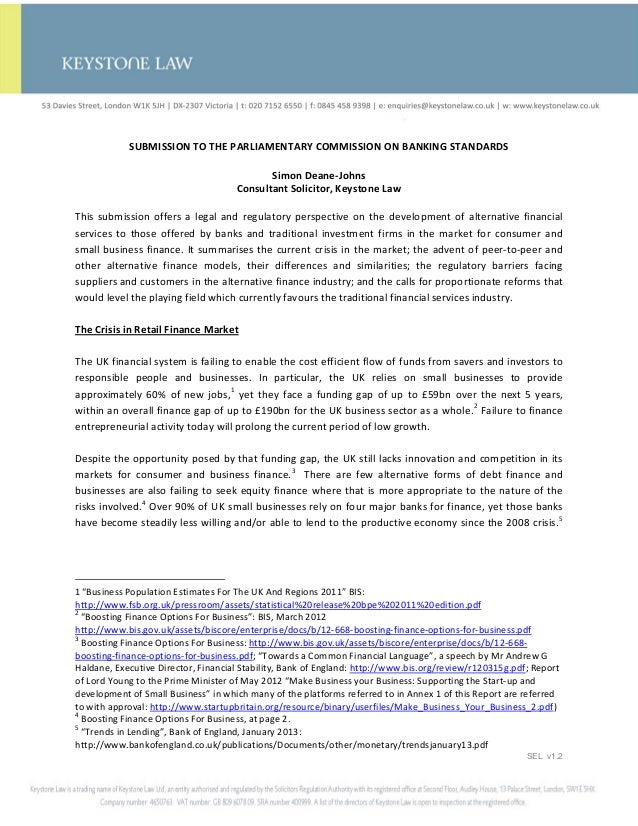 SUBMISSION TO THE PARLIAMENTARY COMMISSION ON BANKING STANDARDS                                            Simon Deane-Joh...