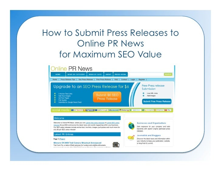 How to Submit Press Releases to        Online PR News    for Maximum SEO Value