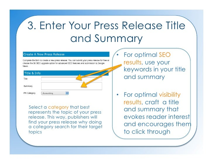 Submit An Seo Press Release How To Guide