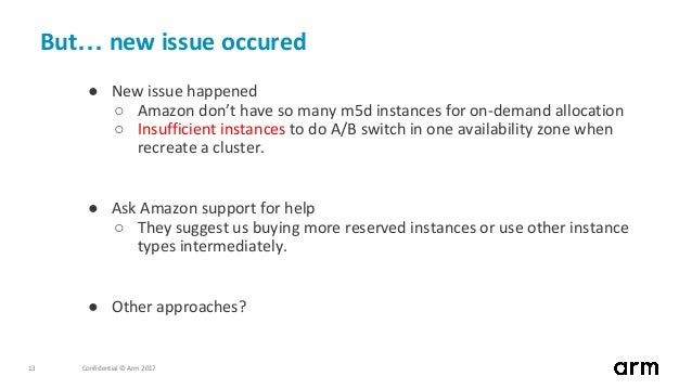 Confidential © Arm 201713 But… new issue occured ● New issue happened ○ Amazon don't have so many m5d instances for on-dem...