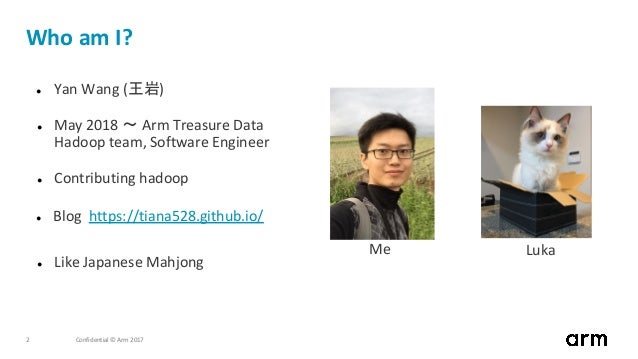 Confidential © Arm 20172 Who am I? ● Yan Wang (王岩) ● May 2018 〜 Arm Treasure Data Hadoop team, Software Engineer ● Contrib...