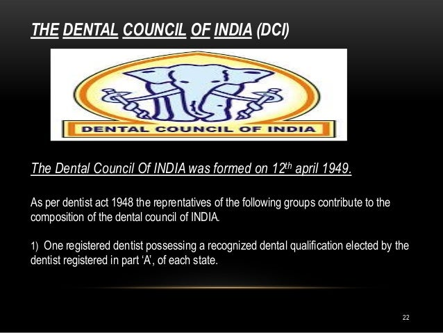 indian dental association and dental council of india