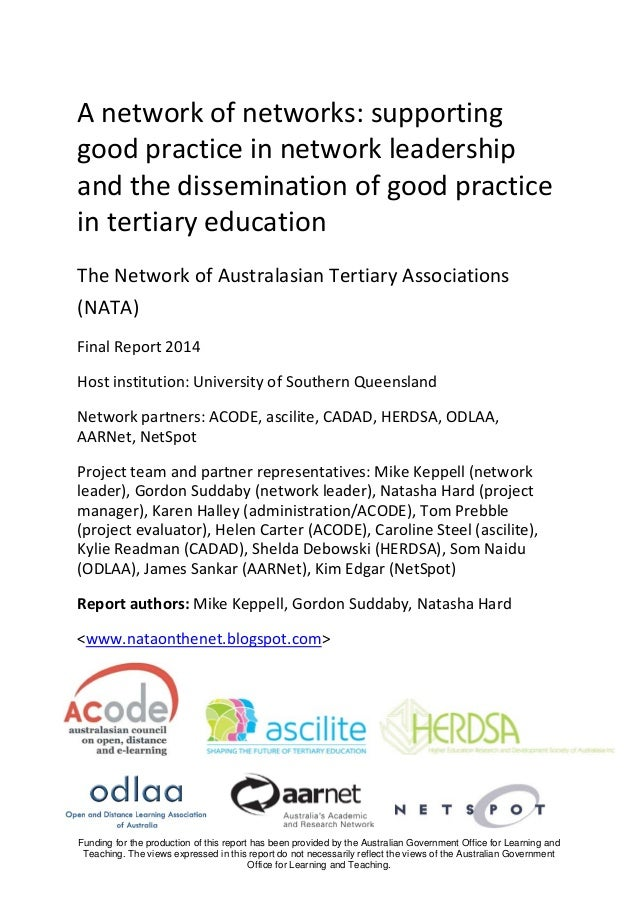 A network of networks: supporting good practice in network leadership and the dissemination of good practice in tertiary e...
