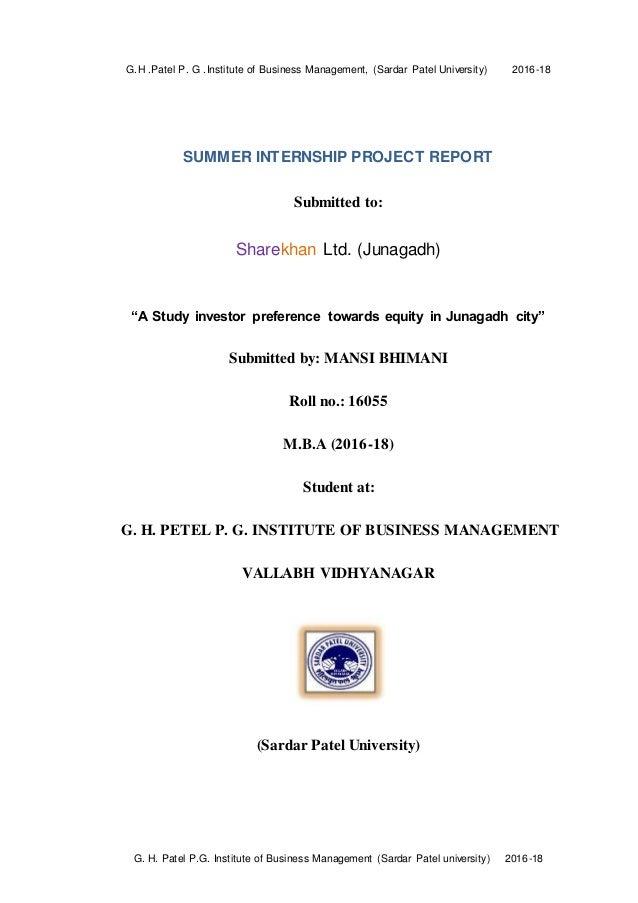 summer internship project at sharekhan ltd report on 'A