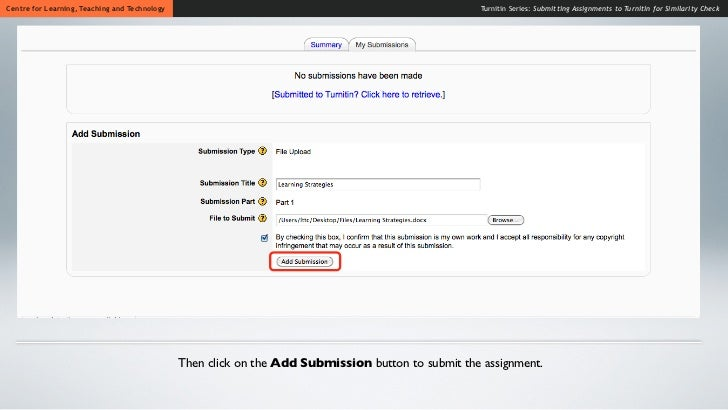 submitting assignments Submitting assignments in stream electronic drop-boxes allow you to submit a file or files electronically in stream you do not have to include a cover sheet when.