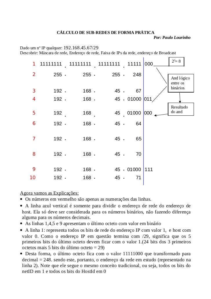 C lculo de sub redes de forma pr tica for Calculadora de redes