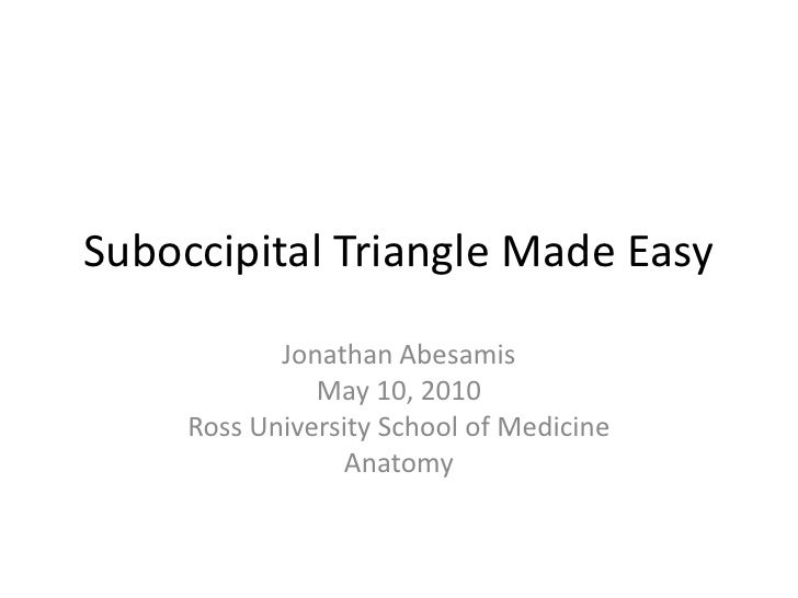 Suboccipital Triangle Made Easy<br />Jonathan Abesamis<br />May 10, 2010<br />Ross University School of Medicine<br />Anat...