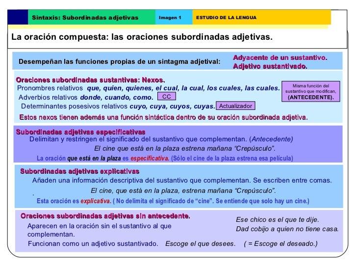 Desempeñan las funciones propias de un sintagma adjetival: Adyacente de un sustantivo. Subordinadas adjetivas explicativas...