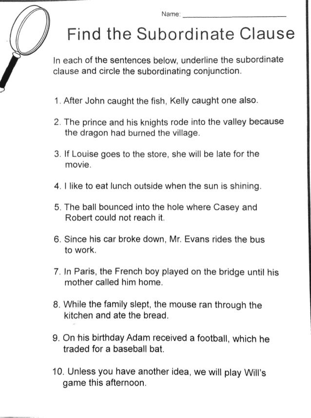 dependent clause practice – Subordinate Clauses Worksheet